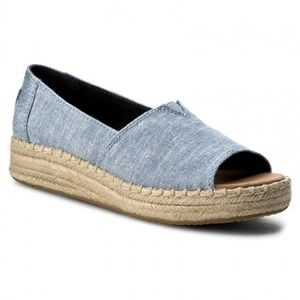 TOMS Blue Slub Chambray Open Toe Platforms